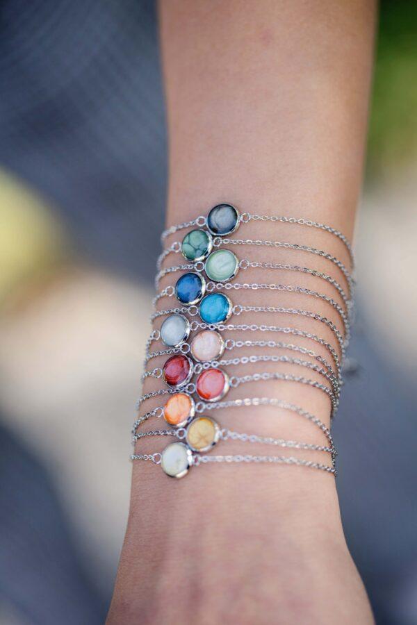 Armketten, Armbänder, bunt, handmade, Edelstahl, blau, grau, rosa, rot, gel, orange, grün, grau, türkis, hellgrün, handgefertigt