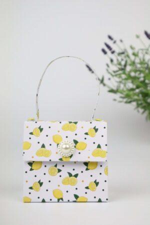 Handtasche, Lavendel, Zitrone, gelb, Deko, Geschenkverpackung, Verpackung, Geldverpackung,