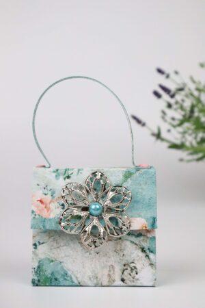 Handtasche, Lavendel, türkis, Deko, Geschenkverpackung, Verpackung, Geldverpackung, Blume