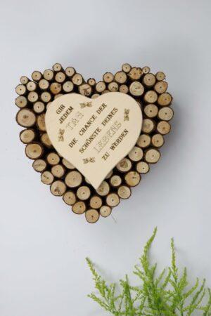 Tag, Chance, schön, Leben, Holz, Herz, Natur, Äste, Deko
