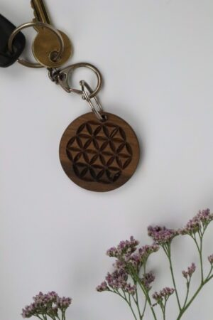 Blume, Lebensblume, Blume des Lebens, Schlüsselanhänger, Schlüssel, Anhänger, Nuss, Holz, Nussholz