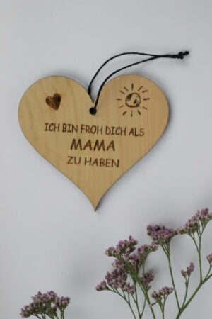 Mama, Muttertag, Herz, Holz, Zirbe, Zirbenholz