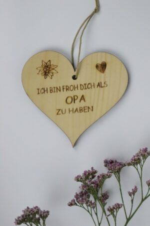 Opa, Vatertag, Herz, Holz, Zirbe, Zirbenholz