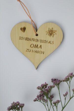 Oma, Muttertag, Herz, Holz, Zirbe, Zirbenholz