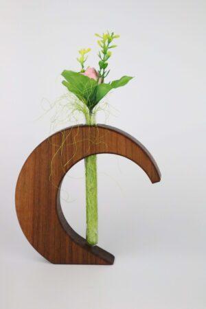 Nuss, Nussholz, halbes Herz, Herz, Holz, Vase, Blume, Blumenvase