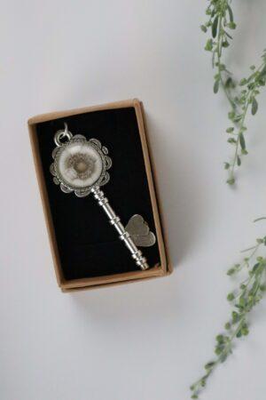 Halskette, Kette, Anhänger, silber, Blume, Schlüssel