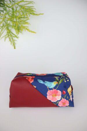 blau, rot, Leder, Kunstleder, Vögel, Blumen, Natur, Kosemetiktasche, Tasche, Stiftepenal,