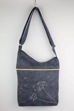 Handtasche, Umhängetasche, Blau, Jeansblau, Jeans, Pusteblume