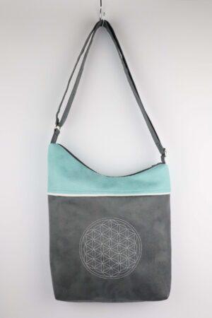 Handtasche, Tasche, Umhängetasche, Blume des Lebens, Energetik, mint, grau