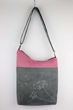 Handtasche, Tasche, Umhängetasche, Pusteblume, rosa, grau