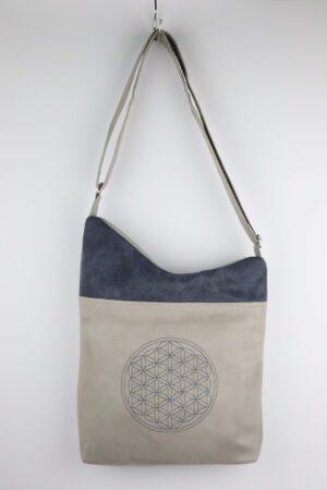 Handtasche, Tasche, Umhängetasche, Blume des Lebens, hellgrau, jeansblau, grau, blau
