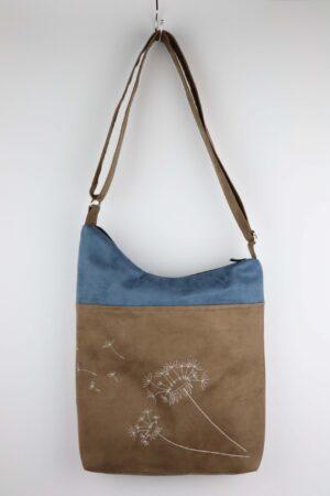 Handtasche, Tasche, Umhängetasche, Pusteblume, braun, blau jeansblau,