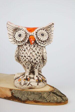 Eule, orange, Keramik, handmade, Deko, Gartendeko