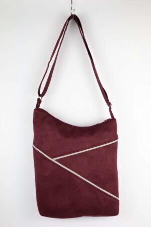 Handtasche, Tasche, Umhängetasche, bordeaux, weinrot, rot, grafisch