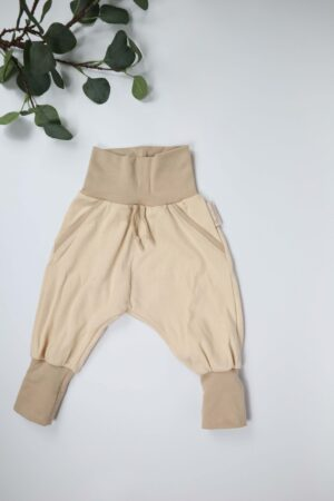 MItwachshose, Hose, Babyhose, Kinderhose, beige, natur, handmade,