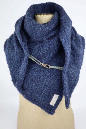 Dreieckstuch, Tuch, Halstuch, Karabiner, Karabinerverschluss, Accessoires, Wolle, Wintertuch, warm, blau, dunkelblau