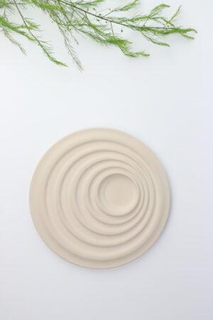Schale, Dekoschale, Teller, Dekoteller, Teelicht, Teelichthalter, Circle, Spirale, Kreise, Beton, grau