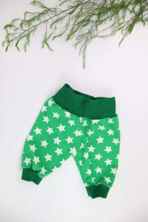 Hose, Babyhose, Mitwachshose, grün, Bündchen, Stern, Sterne, Junge, Baby