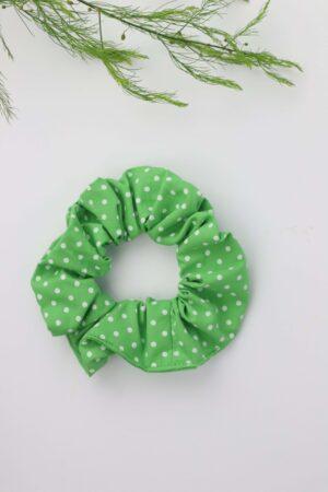 Scrunchie, Haargummi, Blümchen, grün, weiß, getupft, Haare, badhairday