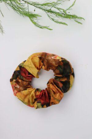 Scrunchie, Haargummi, Blätter, bunt, weinrot, dunkelgrün, senfgelb, natur, Haare, badhairday