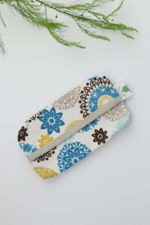 TaschentücTaschentüchertasche, Taschentücherbox, Tatüta, Taschentücher, Mandala, blau, gelb, natur, natürlich, nachhaltig, Baumwollehertasche, Taschentücherbox, Tatüta, Mandala, blau, gelb, natur, natürlich, nachhaltig, Baumwolle