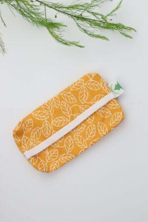 Taschentüchertasche, Taschentücherbox, Tatüta, Taschentücher, Blätter, senfgelb, ocker, gelb, natur, natürlich, nachhaltig, Baumwolle