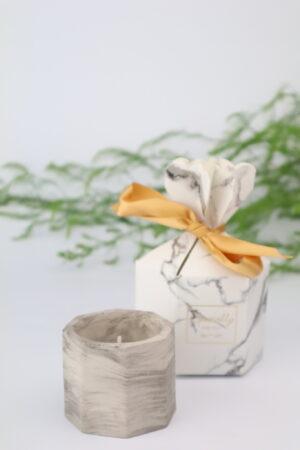 Marmor, marmoriert, Kerze, Kerzen, Kerzenhalter, Teelicht, Teelichthalter, verpackt, Beton, grau
