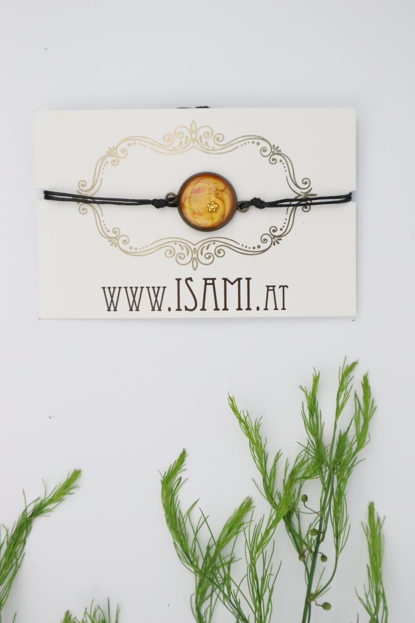 Armband, Blume, orange, gelb, rot, Messing, Armschmuck, Armkette