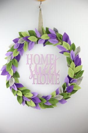 Holz, Lavendel, lila, home, home sweet home, Kranz, Türkranz, Blätterkranz, Filzkranz, Filz, rund, Reifen