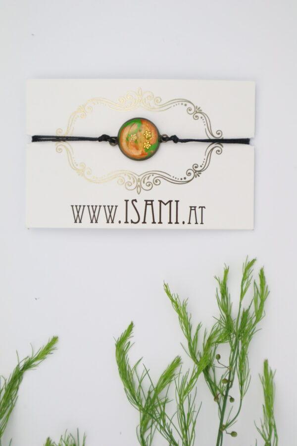 Armband, Armschmuck, Armcandy, Armkette, Schmuck, Handmade, grün, orange, Blumen, Blümchen, gold