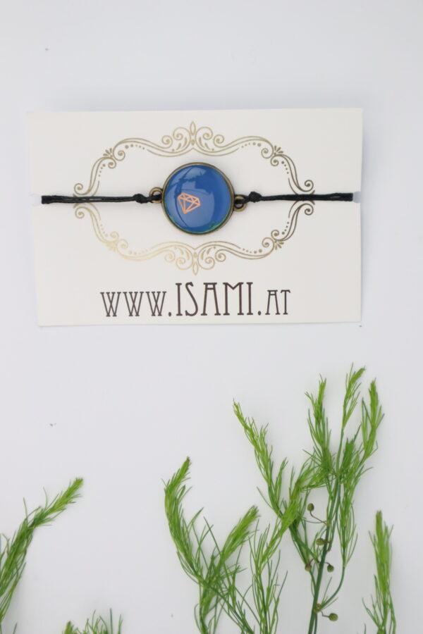 Armband, Armschmuck, Armcandy, Armkette, Schmuck, Handmade, blau, diamant, kupfer, rose
