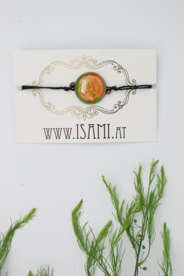 Armband, Armschmuck, Armcandy, Armkette, Schmuck, Handmade, feder, orange, grün
