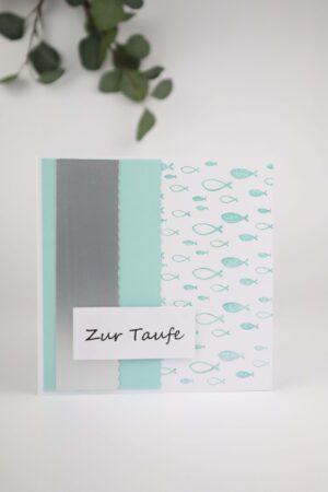 mint, grün, blau, Taufe, Fisch, Frische, Glückwunsch, Karte, Grußkarte, Papier