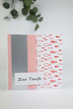 rosa, Taufe, Fisch, Frische, Glückwunsch, Karte, Grußkarte, Papier