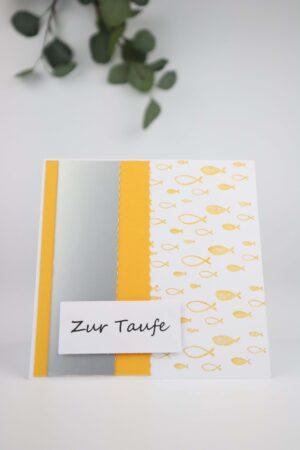 gelb, Taufe, Fisch, Frische, Glückwunsch, Karte, Grußkarte, Papier