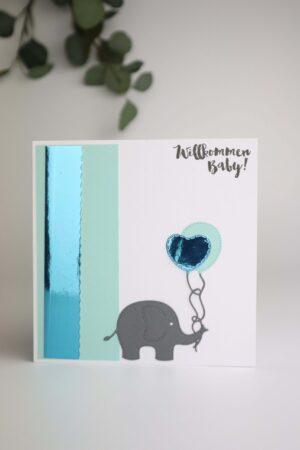 mint, grün, Geburt, Taufe, willkommen, Elefant, Herz, Luftballon, Glückwunsch, Karte, Grußkarte, Papier