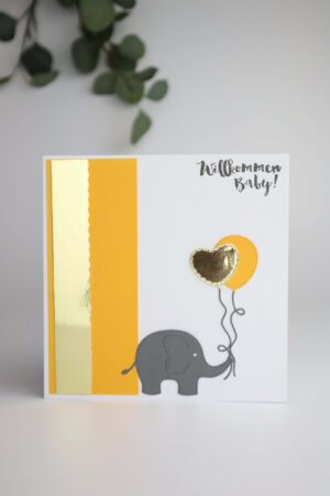 gelb, Geburt, Taufe, willkommen, Elefant, Herz, Luftballon, Glückwunsch, Karte, Grußkarte, Papier