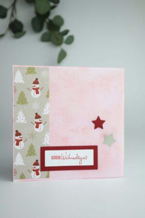 Weihnachten, Weihnachtszeit, Schneemann, Christbaum, Stern, Glückwunsch, Karte, Grußkarte, Papier