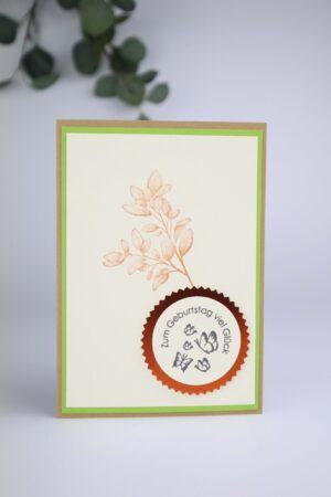grün, beige, Blätter, braun, Geburtstag, Glück, Happy birthday, Glückwunsch, Karte, Grußkarte, Papier