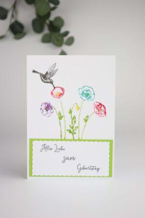 Blume, Vogel, grün, weiß, Blüte, Liebe, Geburtstag, Glück, Happy birthday, Glückwunsch, Karte, Grußkarte, Papier