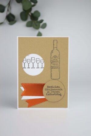 Wein, Glas, trinken, braun, orange, Geburtstag, Glück, Happy birthday, Glückwunsch, Karte, Grußkarte, Papier