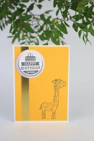 gelb, Giraffe, Geburtstag, Glückwunsch, Karte, Grußkarte, Papier