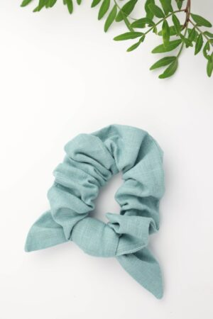 Scrunchie, Haarband, Schleife, Haargummi, Haare, badhairday, Leinen, blau, hellblau, mint, eukalyptus, hellgrün,