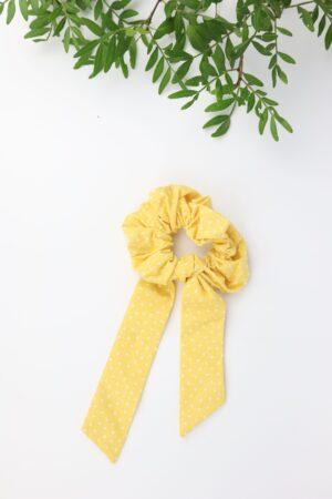 Scrunchie, Haarband, Schleife, Haargummi, Haare, badhairday, gelb, weiß, Dreiecke, Baumwolle