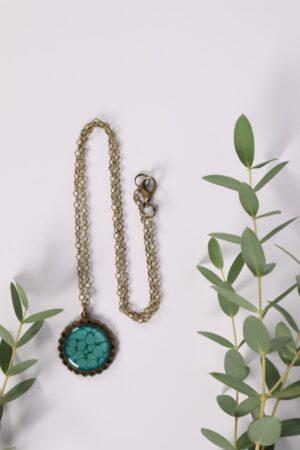 Halskette, Kette, Anhänger, Blume, Dirndl, Trachti, Messing, Blume, Blüte, Floral, blau, türkis