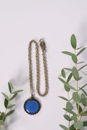 Halskette, Kette, Anhänger, Blume, Dirndl, Trachti, Messing, Blume, Blüte, Floral, blau,