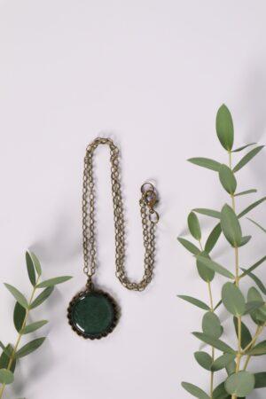 Halskette, Kette, Anhänger, Blume, Dirndl, Trachti, Messing, Blume, Blüte, Floral, blau, türkis, petrol, grün