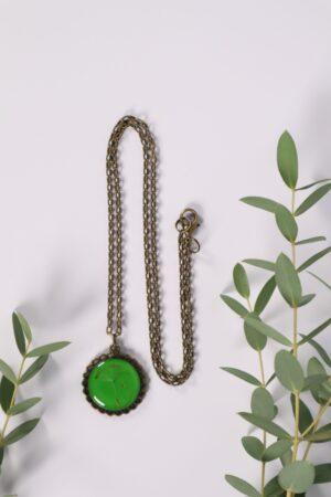 Halskette, Kette, Anhänger, Blume, Dirndl, Trachti, Messing, Blume, Blüte, Floral, beige, grün, grasgrün, hellgrün, mittelgrün,